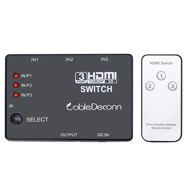 振德 CableDeconn HDMI切换器 三进一出HDMI带摇控分配器1.4