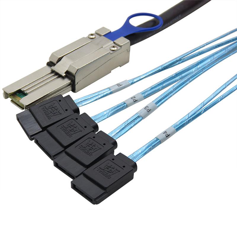 振德 CableDeconn 服务器SFF-8088 MINI SAS 26P to 4 SATA连接线阵列卡硬盘数据线