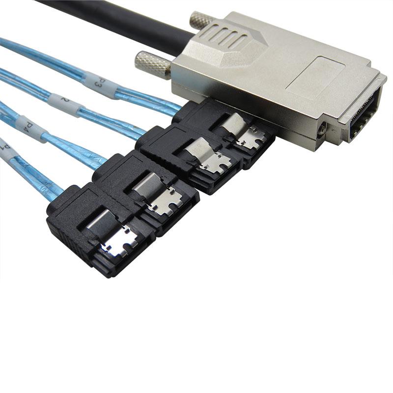 振德 CableDeconn Mini SAS SFF-8470 Infiniband TO 4 SATA 7P 硬盘数据传输线