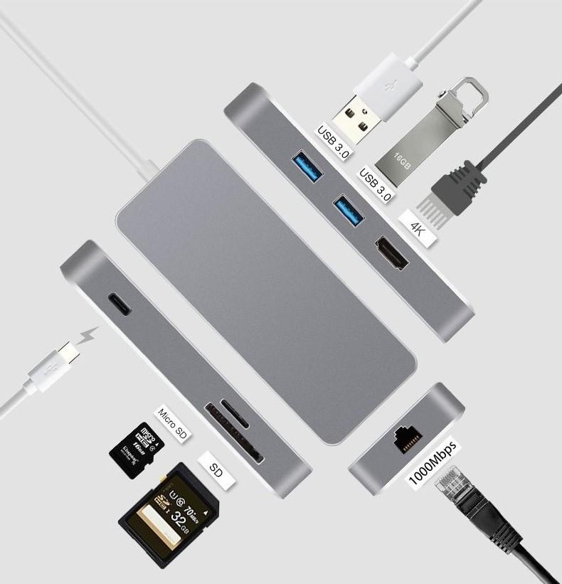 振德 CableDeconn Type-C转HDMI/RJ45千兆网口/HUB/PD/SD/TF 多合一转换器