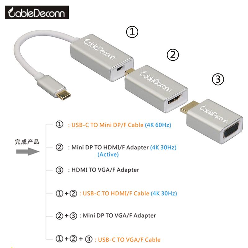 振德 CableDeconn Type-c级联组合转换器USB-C 转MINI DP/DP/HDMI/VGA多功能转换线