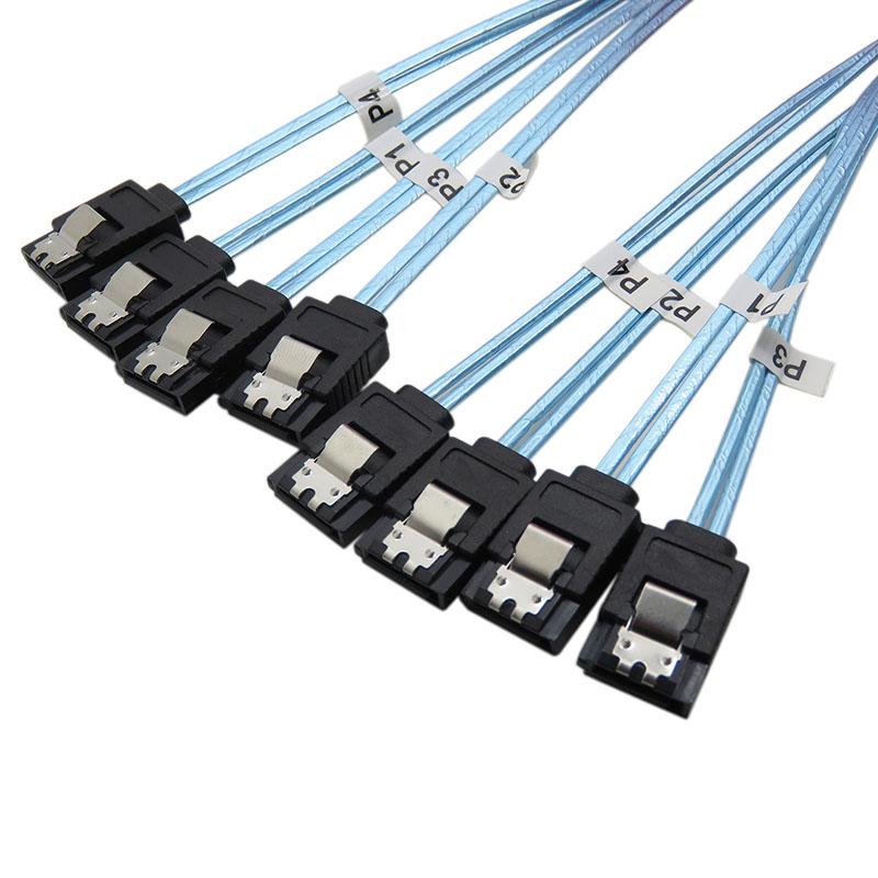 振德 CableDeconn6头minisas数据线 6sata7p带编织网电脑机箱硬盘数据线