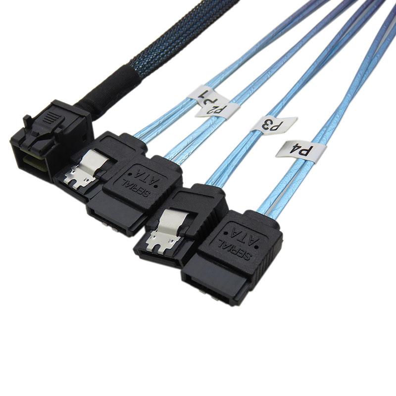 振德 CableDeconnMini SAS HD36P SFF-8643对4*SATA 7P硬盘数据服务器传输线